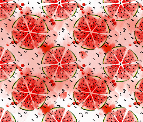 Watercolor Watermelon pattern fabric by magic_pencil on Spoonflower - custom fabric