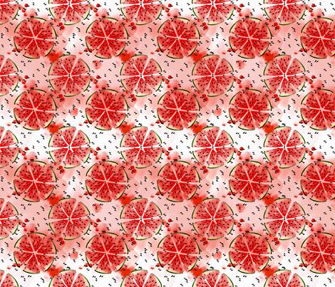 Watercolor Watermelon mandala fabric by magic_pencil on Spoonflower - custom fabric