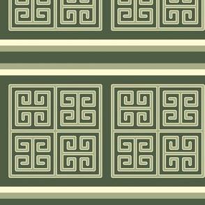 Bayeux Greek Key Green Stripe