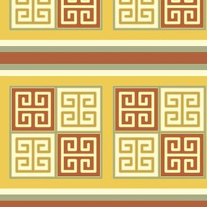 Bayeux Greek Key Linen and Yellow Stripe