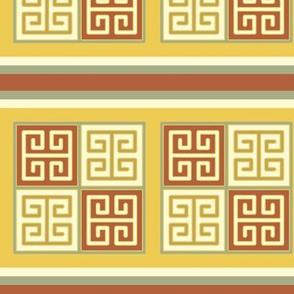 Bayeux Greek Key Linen and Yellow Stripe