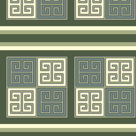 Bayeux Greek Key Green and Linen Stripe fabric by eclectic_house on Spoonflower - custom fabric