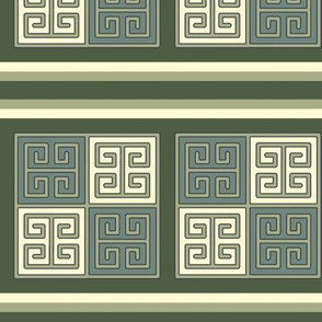 Bayeux Greek Key Green and Linen Stripe