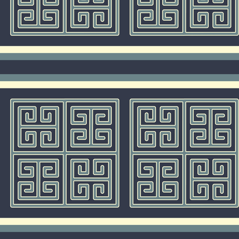 Bayeux Greek Key Blue Stripe fabric by eclectic_house on Spoonflower - custom fabric