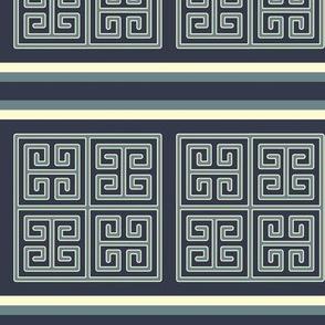 Bayeux Greek Key Blue Stripe