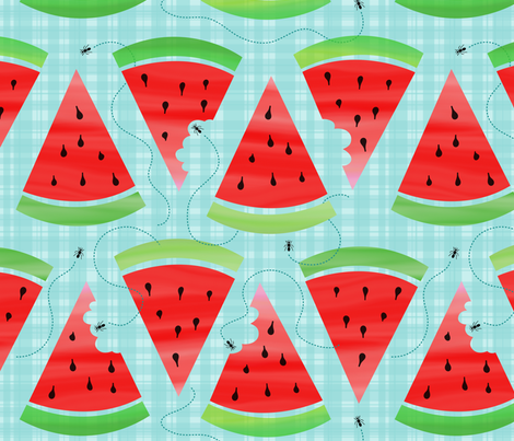 Watercolor Watermelon Picnic - Ant Invasion fabric by sew-me-a-garden on Spoonflower - custom fabric
