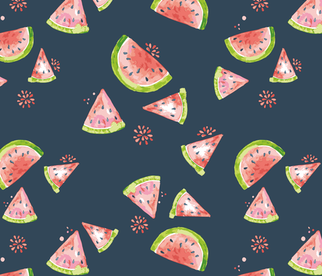 Watercolor Melons fabric by miri_d on Spoonflower - custom fabric