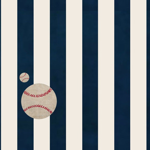 stripes and Baseballs -vertical 1951-  navy cream