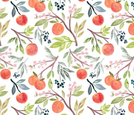 Peach Tree fabric by alyssa_scott on Spoonflower - custom fabric