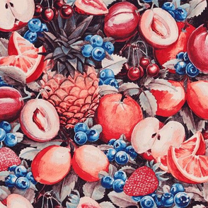 Watercolour Fruit - Cobalt/Carmine