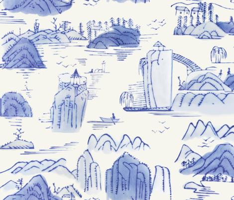 Blue Scenic Landscape fabric by danika_herrick on Spoonflower - custom fabric