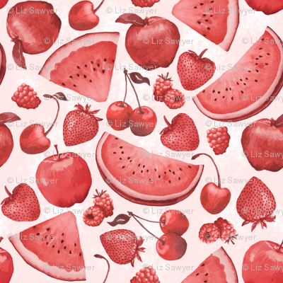 Red Fruits Monochromatic Watercolor