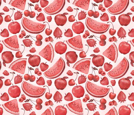 Red Fruits Monochromatic Watercolor fabric by liz_sawyer_design on Spoonflower - custom fabric