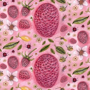 a lemon, some raspberries, and a few bugs, large scale, pink raspberry rose red green