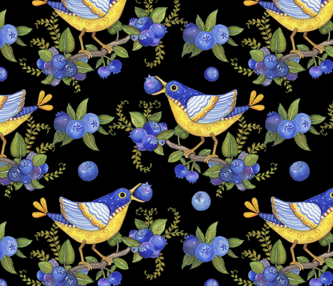 _TK-Blueberry_Bird_Whimsical_Watercolor fabric by doodledoer-teresakelly on Spoonflower - custom fabric