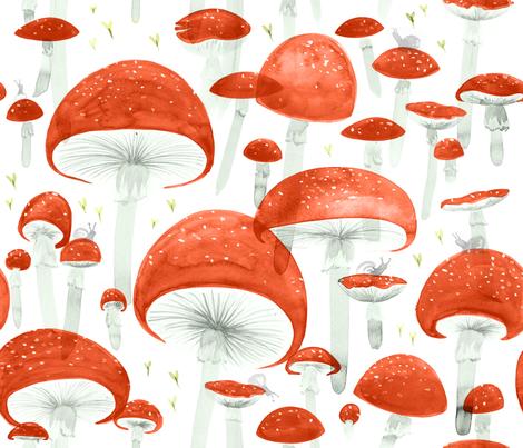 Mycelium Fruiting Bodies by Friztin fabric by friztin on Spoonflower - custom fabric