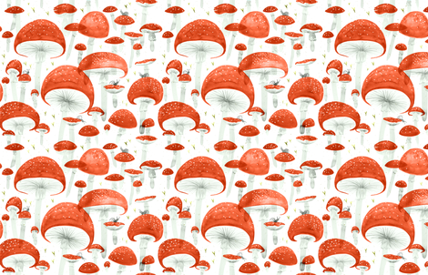 Mycelium Fruiting Bodies by Friztin fabric by friztin on Spoonflower - custom fabric