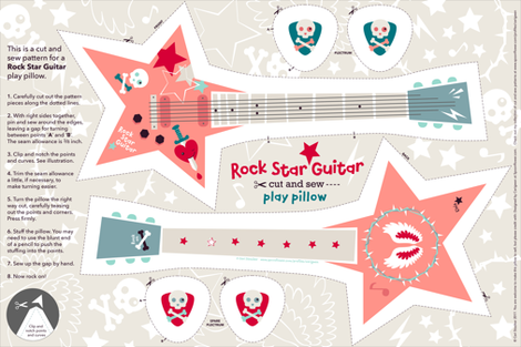 Rock Star Guitar play pillow fabric by cerigwen on Spoonflower - custom fabric