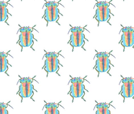 Rainbow Beetle Watercolor fabric by stoneamazon on Spoonflower - custom fabric