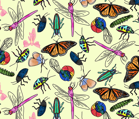 Insect Watercolor (yellow) fabric by chiral on Spoonflower - custom fabric