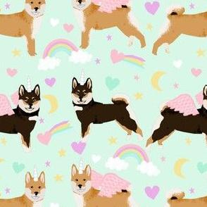 shiba inu fabric shiba dog unicorn fabric cute pastel rainbows cute fabric - light mint