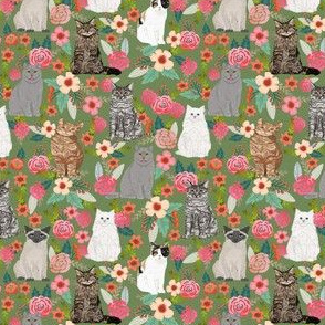 cat garden fabric sweet cat lady flowers florals cats white cat siamese cat flowers watercolors