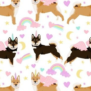 shiba inu dog fabric cute pastel unicorn and rainbows dog unicorn fabric - white