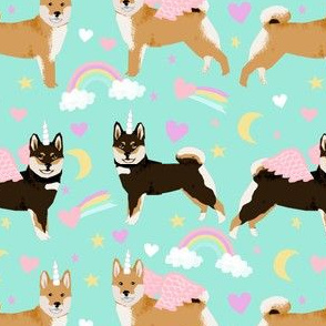 shiba inu dog fabric cute pastel unicorn and rainbows dog unicorn fabric - aqua