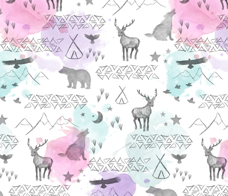 watercolor woodland pastel fabric by mrshervi on Spoonflower - custom fabric