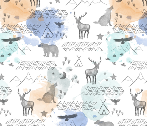 watercolor woodland orange blue fabric by mrshervi on Spoonflower - custom fabric