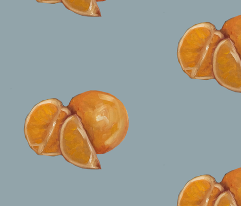 Duck Egg and Oranges fabric by traceyharveydesigns on Spoonflower - custom fabric