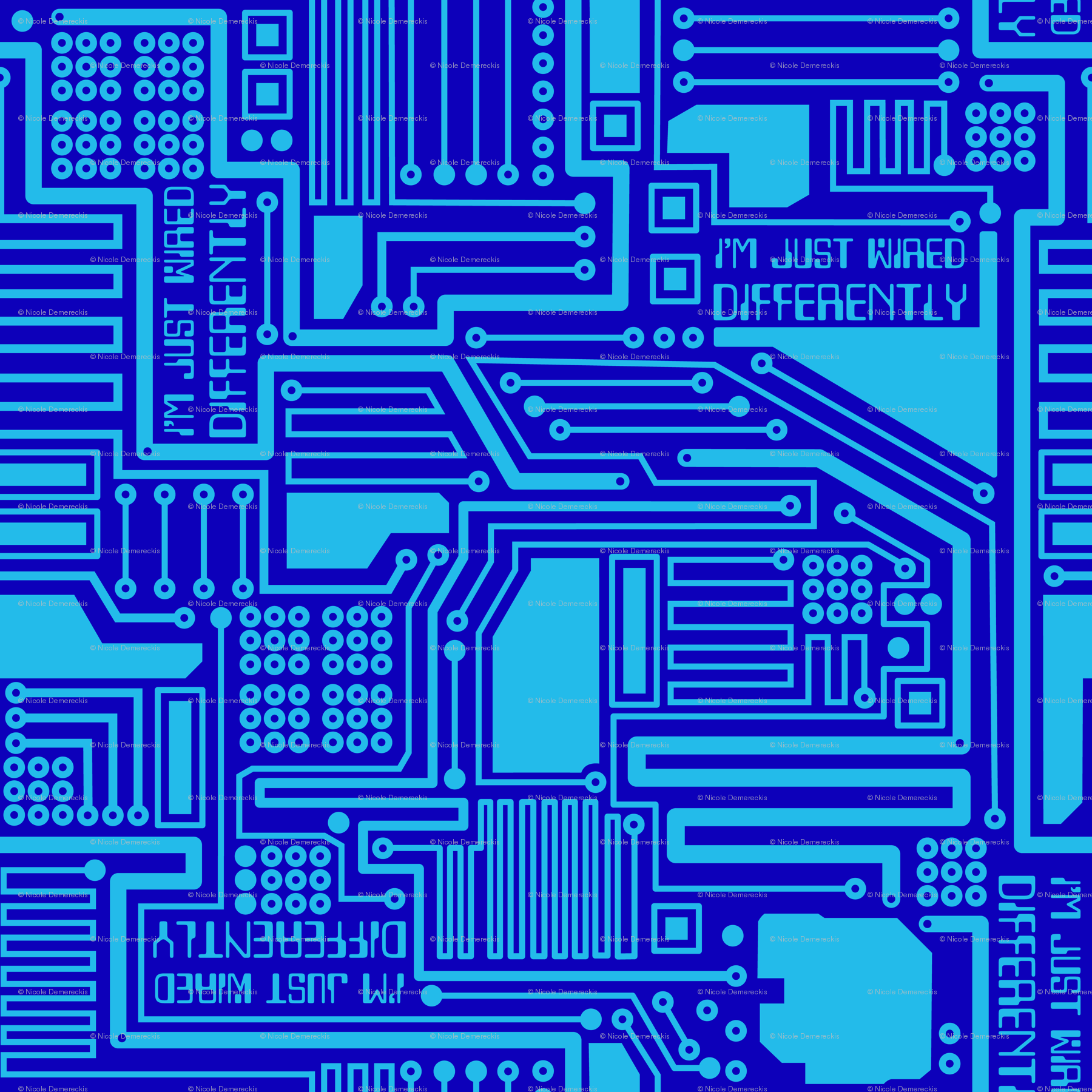 Im Just Wired Differently Blue fabric - wickedrefined - Spoonflower