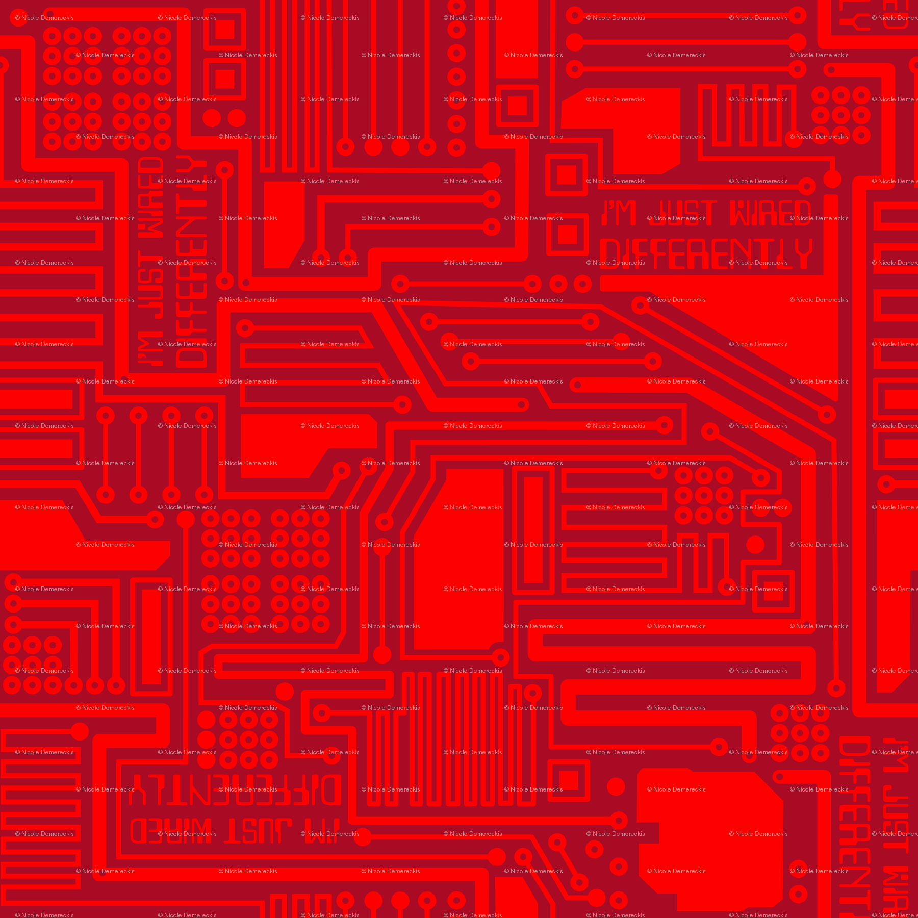 Im Just Wired Differently Red fabric - wickedrefined - Spoonflower