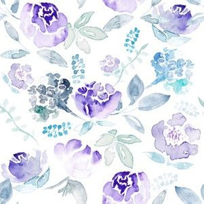 Watercolour Floral Vintage Blue Hue on White MEDIUM
