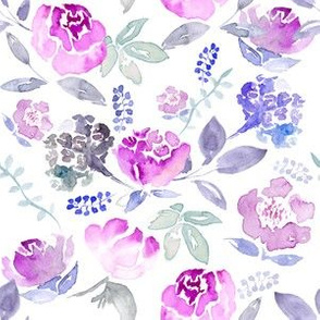 Watercolour Floral Vintage Pink Hue on White MEDIUM