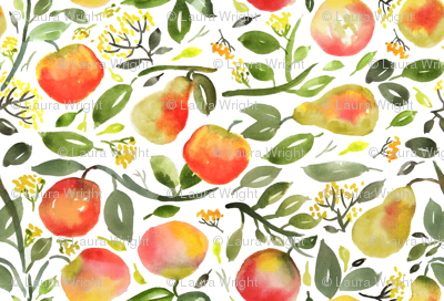 Watercolor pears and peaches