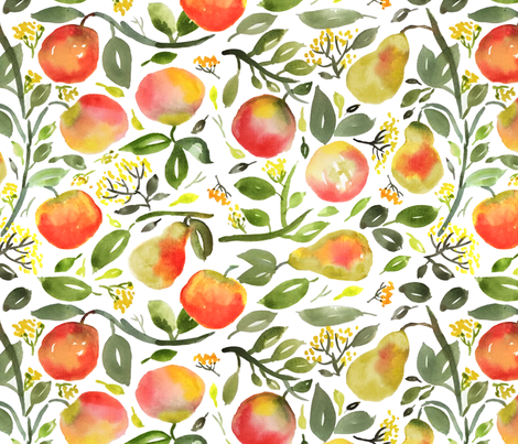 Watercolor pears and peaches fabric by laurawrightstudio on Spoonflower - custom fabric