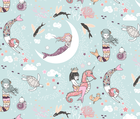 Mermaid Lullaby (seafoam) LARGE fabric by nouveau_bohemian on Spoonflower - custom fabric