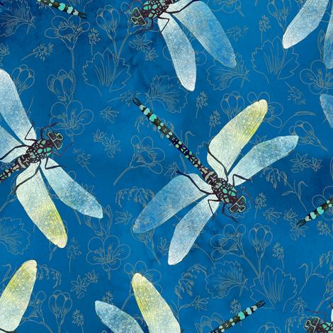 dragonfly-blue fabric by gaiamarfurt on Spoonflower - custom fabric