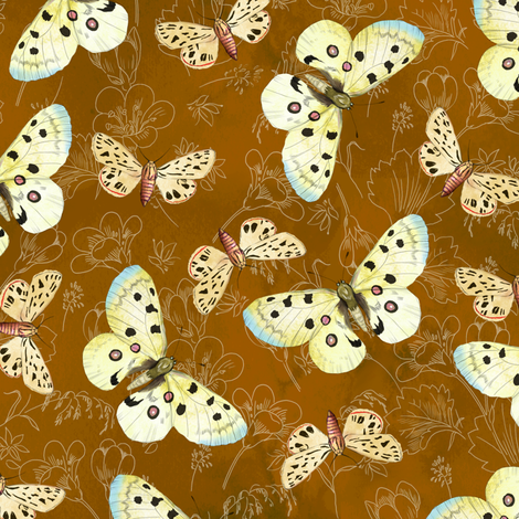 moths-orange fabric by gaiamarfurt on Spoonflower - custom fabric