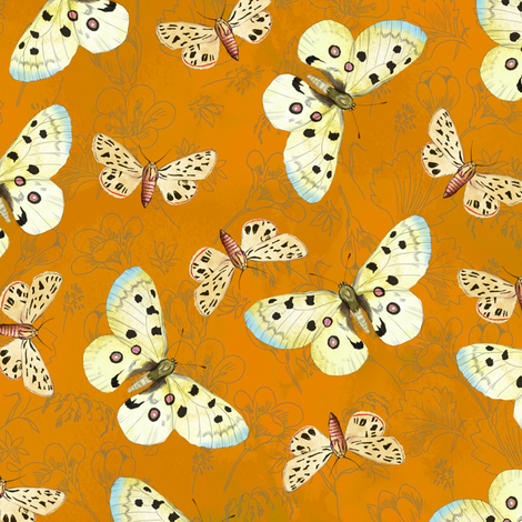 moths-brightorange fabric by gaiamarfurt on Spoonflower - custom fabric