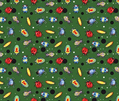 bug´s funny dark green fabric by colorofmagic on Spoonflower - custom fabric