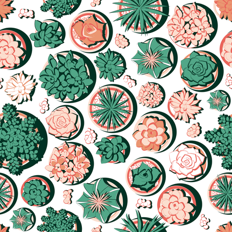 Succulent pots 2 // white background deep greens corals succulent pots fabric by selmacardoso on Spoonflower - custom fabric