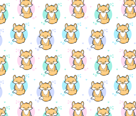 Cute Cuddly Fox fabric by nossisel on Spoonflower - custom fabric
