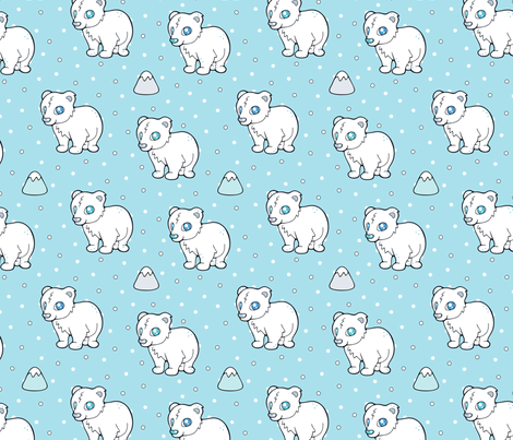 Cuddly Baby Polar Bear fabric by nossisel on Spoonflower - custom fabric