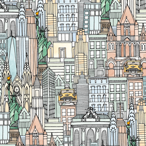 New York watercolor small fabric by scrummy on Spoonflower - custom fabric