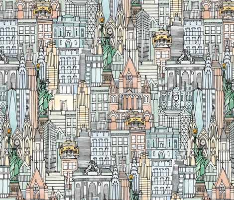 New York watercolor fabric by scrummy on Spoonflower - custom fabric