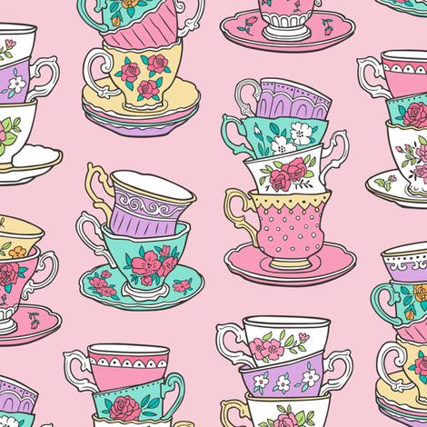Stacked Tea cups with Vintage Roses Flowers on Pink fabric by caja_design on Spoonflower - custom fabric
