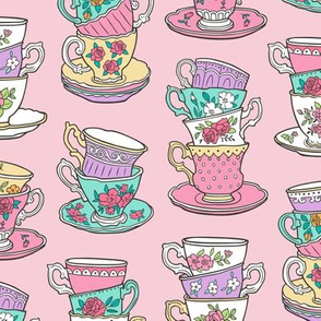 Stacked Tea cups with Vintage Roses Flowers on Pink
