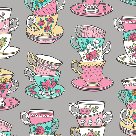 Stacked Tea cups with Vintage Roses Flowers on Grey fabric by caja_design on Spoonflower - custom fabric